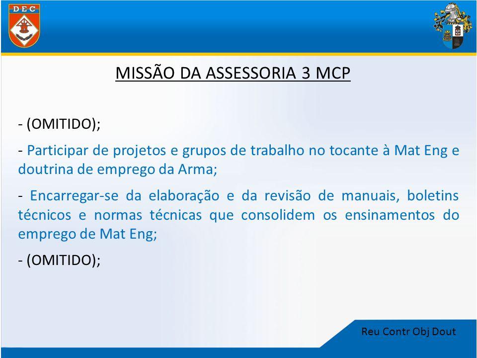 Reu Contr Obj Dout MISSÃO DA ASSESSORIA 3 MCP - (OMITIDO); - Participar de projetos e grupos de trabalho no tocante à Mat Eng e doutrina de emprego da
