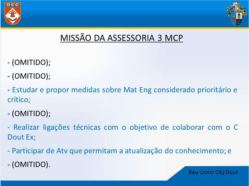 Reu Contr Obj Dout MISSÃO DA ASSESSORIA 3 MCP - (OMITIDO); - Estudar e propor medidas sobre Mat Eng considerado prioritário e crítico; - (OMITIDO); -