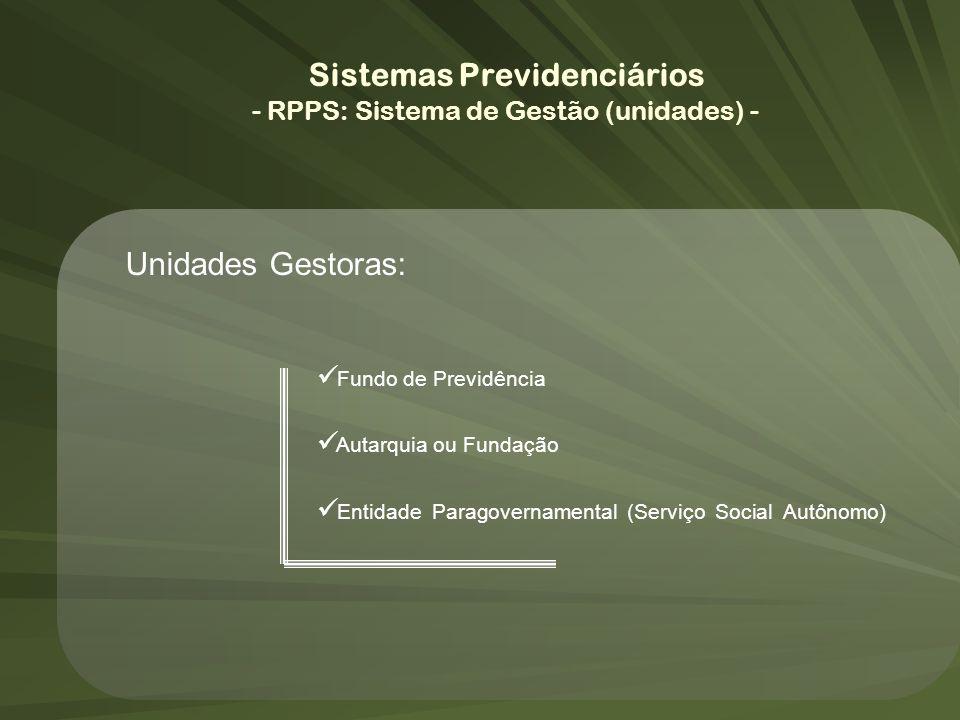 Unidades Gestoras: Fundo de Previdência Autarquia ou Fundação Entidade Paragovernamental (Serviço Social Autônomo) Sistemas Previdenciários - RPPS: Si