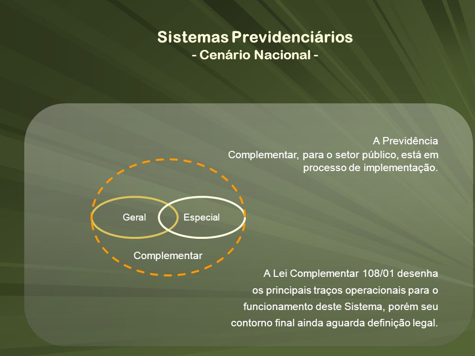 GeralEspecial Complementar A Previdência Complementar, para o setor público, está em processo de implementação. A Lei Complementar 108/01 desenha os p