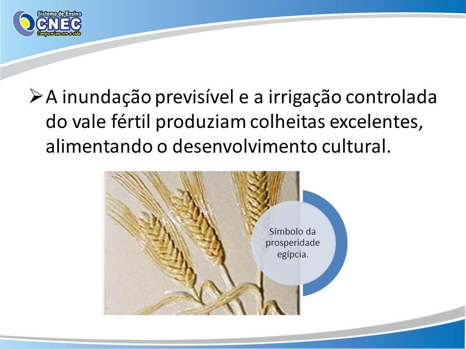 A inundação previsível e a irrigação controlada do vale fértil produziam colheitas excelentes, alimentando o desenvolvimento cultural. Símbolo da pros