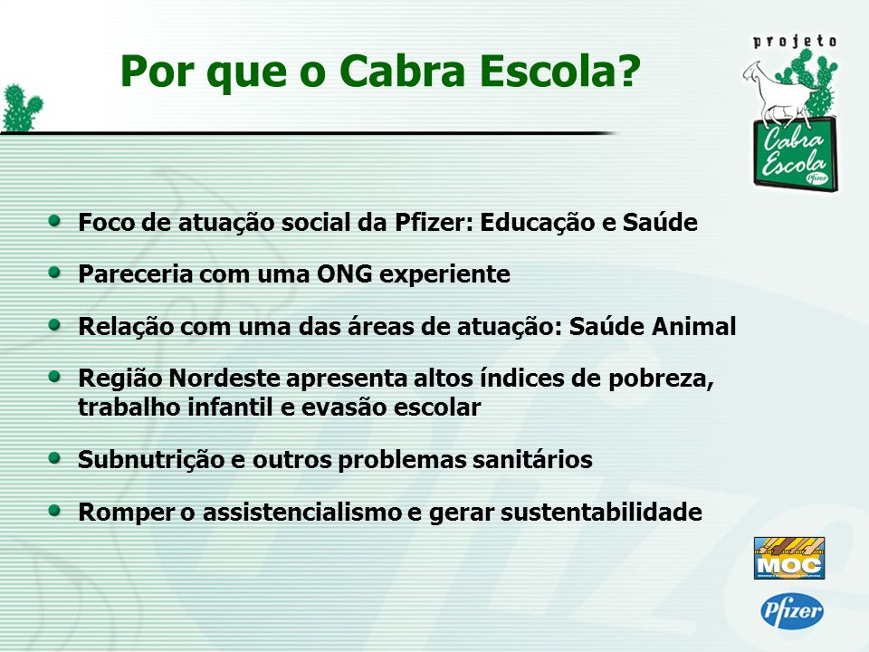 Foco de atuação social da Pfizer: Educação e Saúde Pareceria com uma ONG experiente Relação com uma das áreas de atuação: Saúde Animal Região Nordeste