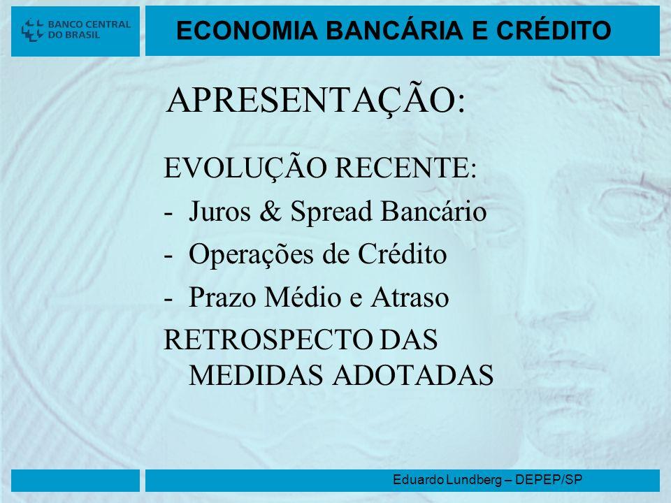 Eduardo Lundberg – DEPEP/SP ECONOMIA BANCÁRIA E CRÉDITO APRESENTAÇÃO: EVOLUÇÃO RECENTE: -Juros & Spread Bancário -Operações de Crédito -Prazo Médio e