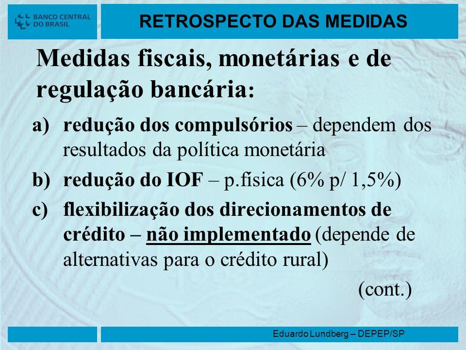 Eduardo Lundberg – DEPEP/SP RETROSPECTO DAS MEDIDAS Medidas fiscais, monetárias e de regulação bancária : a)redução dos compulsórios – dependem dos re