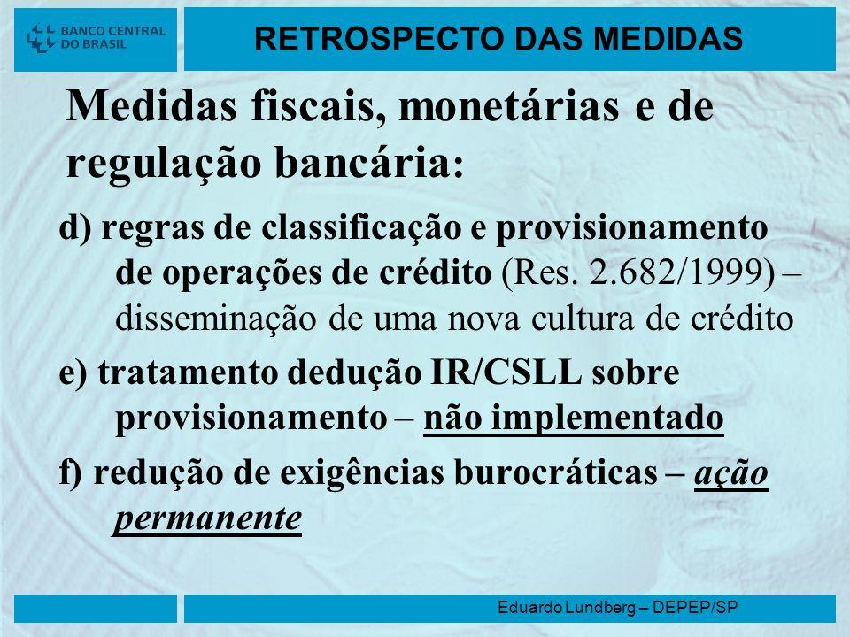 Eduardo Lundberg – DEPEP/SP RETROSPECTO DAS MEDIDAS Medidas fiscais, monetárias e de regulação bancária : d) regras de classificação e provisionamento
