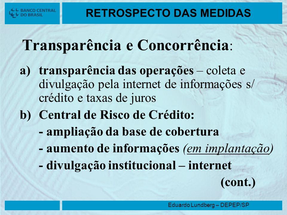 Eduardo Lundberg – DEPEP/SP RETROSPECTO DAS MEDIDAS Transparência e Concorrência : a)transparência das operações – coleta e divulgação pela internet d