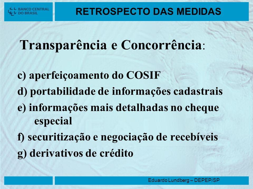 Eduardo Lundberg – DEPEP/SP RETROSPECTO DAS MEDIDAS Transparência e Concorrência : c) aperfeiçoamento do COSIF d) portabilidade de informações cadastr