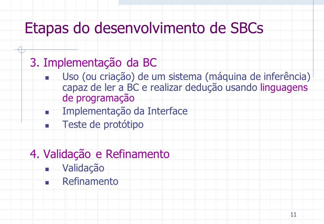 11 3. Implementação da BC Uso (ou criação) de um sistema (máquina de inferência) capaz de ler a BC e realizar dedução usando linguagens de programação