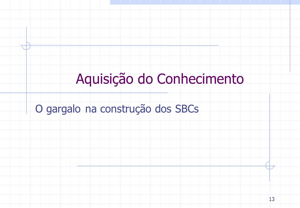 13 Aquisição do Conhecimento O gargalo na construção dos SBCs