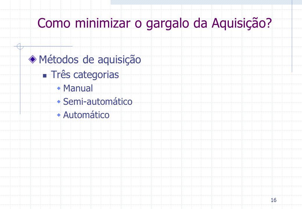 16 Como minimizar o gargalo da Aquisição? Métodos de aquisição Três categorias Manual Semi-automático Automático