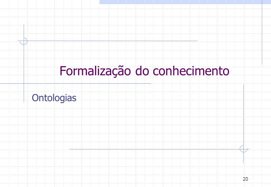 20 Formalização do conhecimento Ontologias