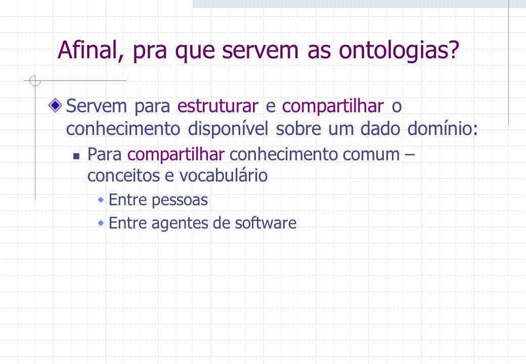 Afinal, pra que servem as ontologias? Servem para estruturar e compartilhar o conhecimento disponível sobre um dado domínio: Para compartilhar conheci