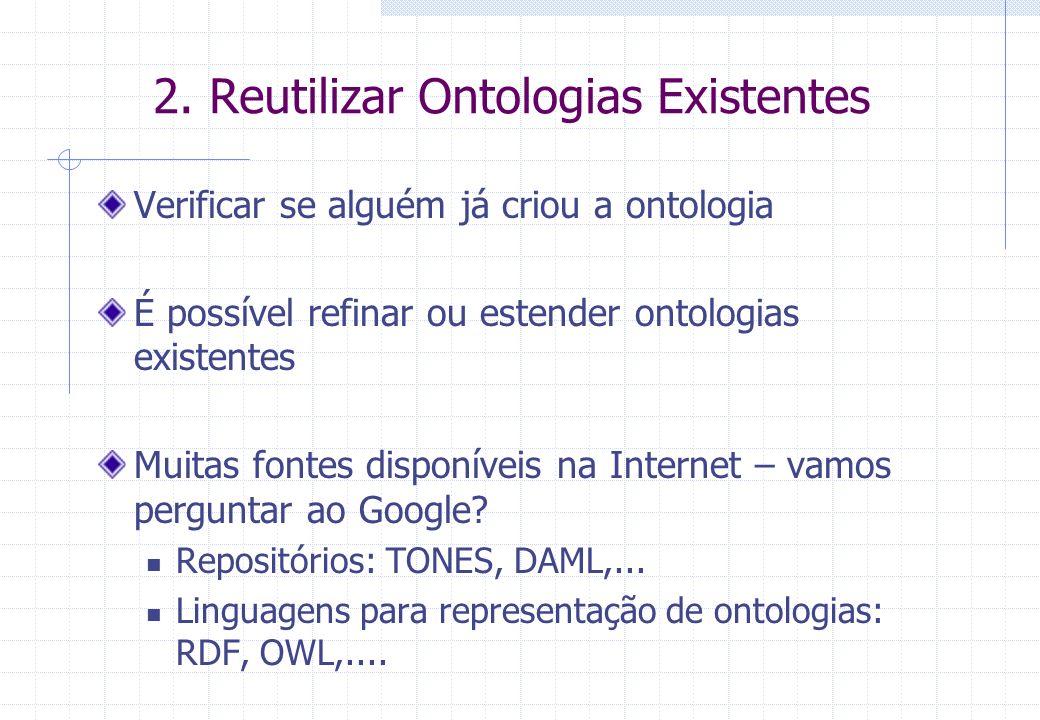 2. Reutilizar Ontologias Existentes Verificar se alguém já criou a ontologia É possível refinar ou estender ontologias existentes Muitas fontes dispon