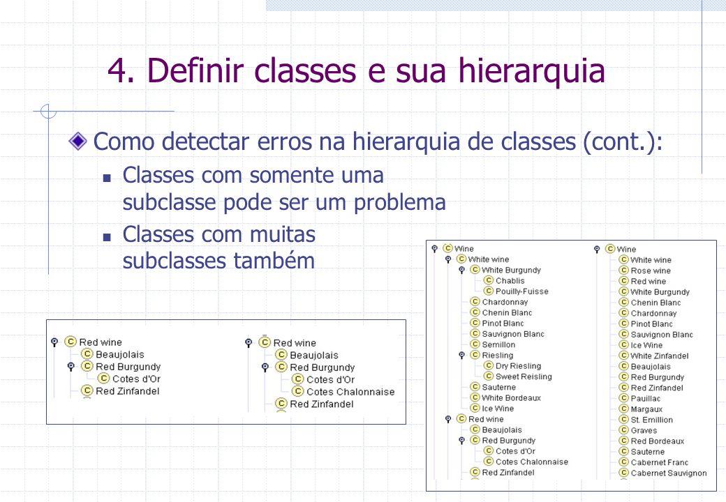 4. Definir classes e sua hierarquia Como detectar erros na hierarquia de classes (cont.): Classes com somente uma subclasse pode ser um problema Class