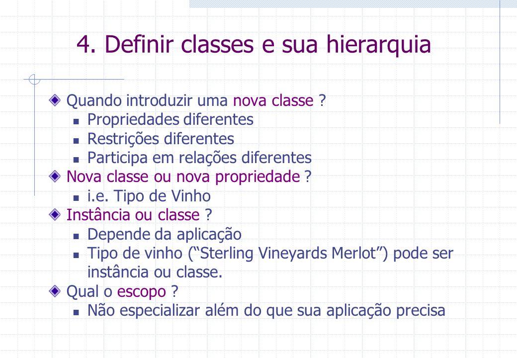 4. Definir classes e sua hierarquia Quando introduzir uma nova classe ? Propriedades diferentes Restrições diferentes Participa em relações diferentes