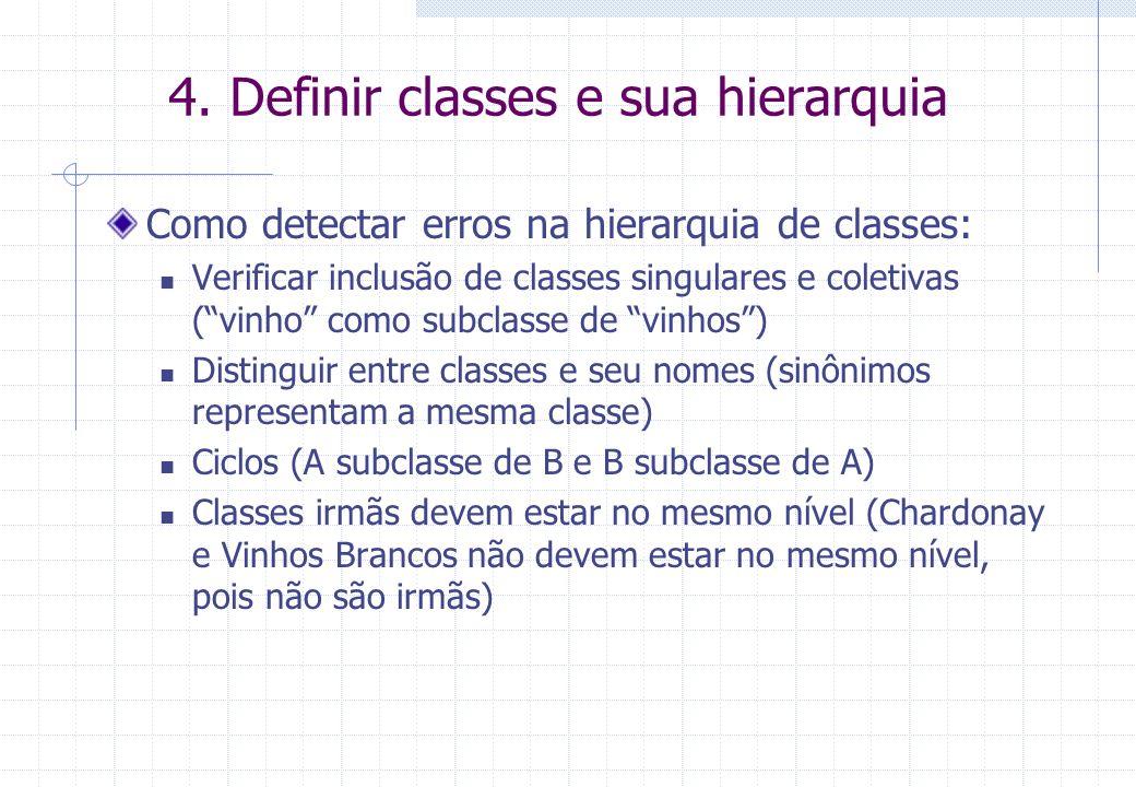 4. Definir classes e sua hierarquia Como detectar erros na hierarquia de classes: Verificar inclusão de classes singulares e coletivas (vinho como sub