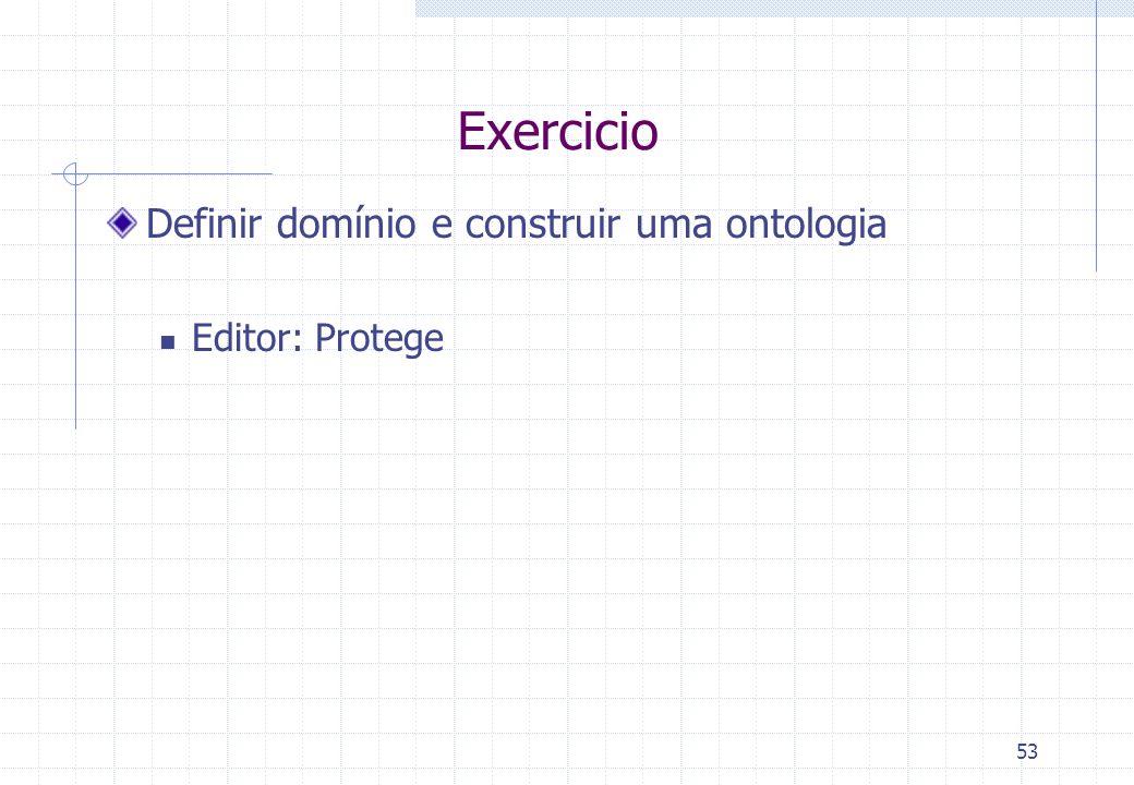 Exercicio Definir domínio e construir uma ontologia Editor: Protege 53