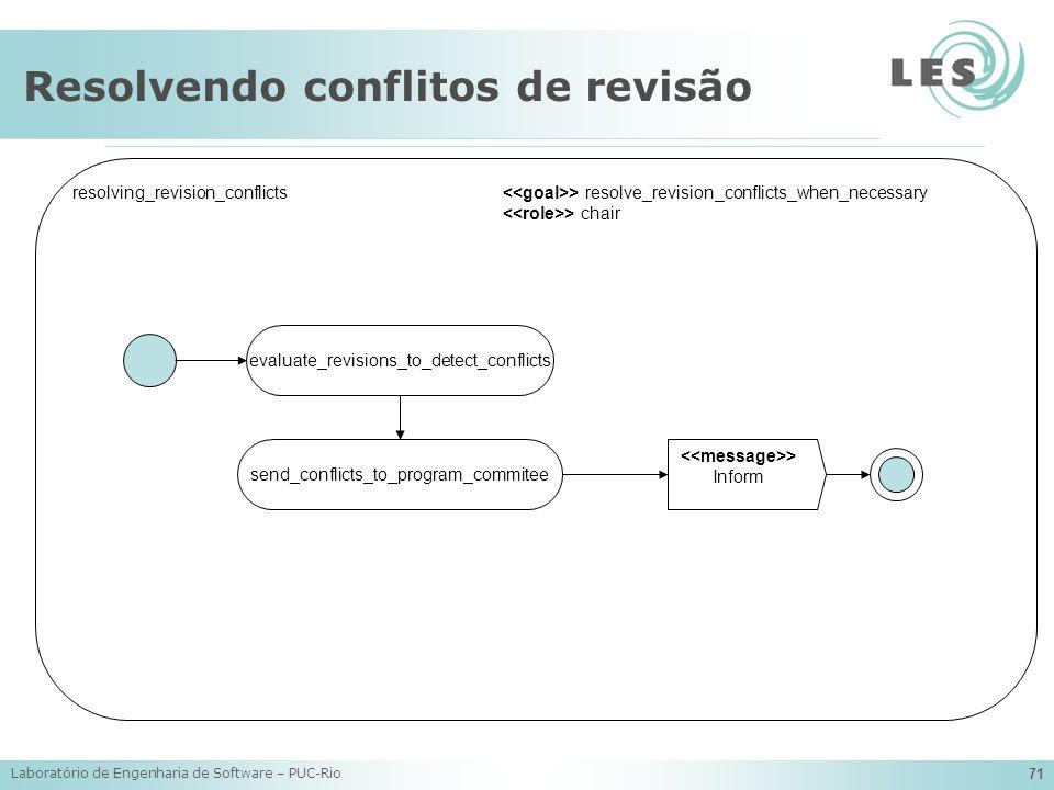 Laboratório de Engenharia de Software – PUC-Rio 71 Resolvendo conflitos de revisão evaluate_revisions_to_detect_conflicts resolving_revision_conflicts