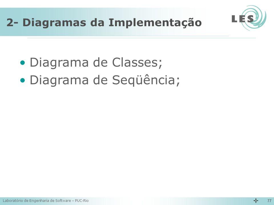 Laboratório de Engenharia de Software – PUC-Rio 77 2- Diagramas da Implementação Diagrama de Classes; Diagrama de Seqüência;