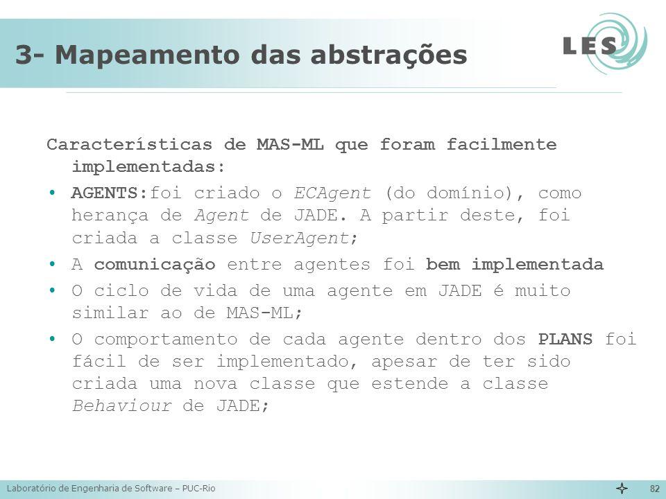 Laboratório de Engenharia de Software – PUC-Rio 82 3- Mapeamento das abstrações Características de MAS-ML que foram facilmente implementadas: AGENTS:f