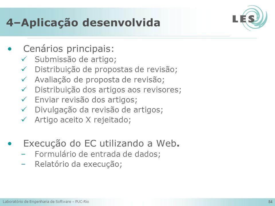 Laboratório de Engenharia de Software – PUC-Rio 84 4–Aplicação desenvolvida Cenários principais: Submissão de artigo; Distribuição de propostas de rev