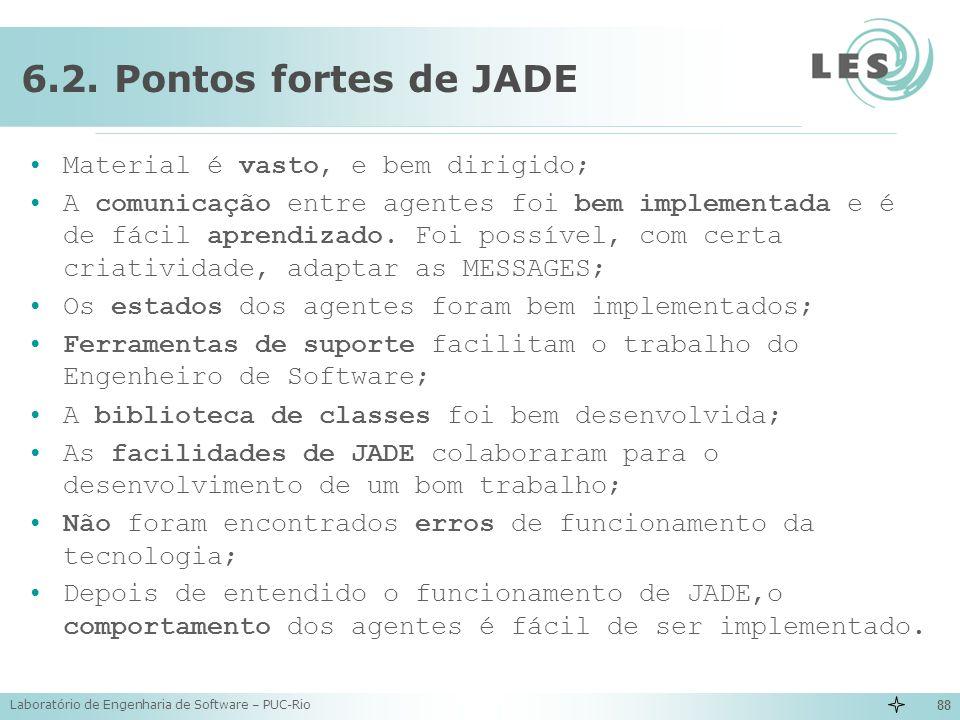 Laboratório de Engenharia de Software – PUC-Rio 88 6.2. Pontos fortes de JADE Material é vasto, e bem dirigido; A comunicação entre agentes foi bem im
