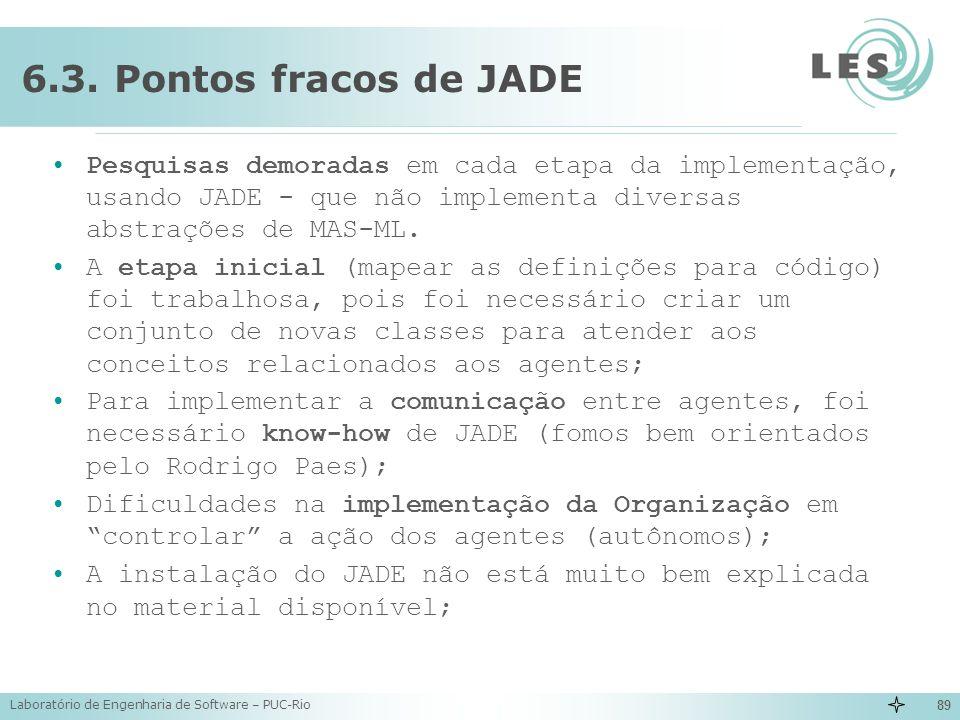 Laboratório de Engenharia de Software – PUC-Rio 89 6.3. Pontos fracos de JADE Pesquisas demoradas em cada etapa da implementação, usando JADE - que nã