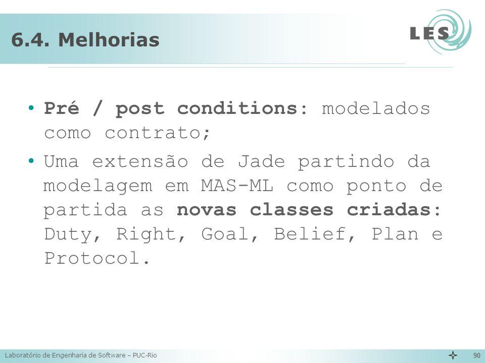 Laboratório de Engenharia de Software – PUC-Rio 90 6.4. Melhorias Pré / post conditions: modelados como contrato; Uma extensão de Jade partindo da mod