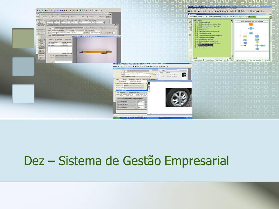 O DEZ – Sistema de Gestão Empresarial é um sistema totalmente integrado que contempla as necessidades de todas as áreas da empresa, de forma ágil, segura e eficaz.