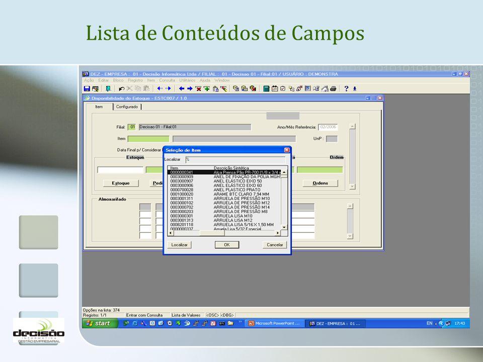 Lista de Conteúdos de Campos