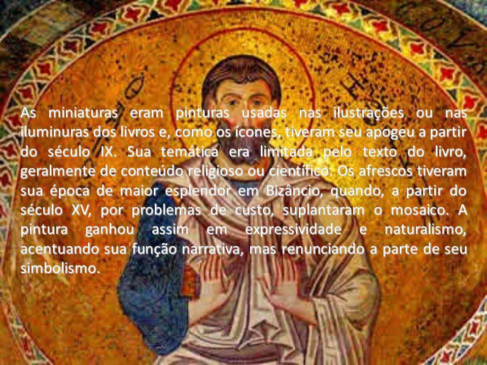 As miniaturas eram pinturas usadas nas ilustrações ou nas iluminuras dos livros e, como os ícones, tiveram seu apogeu a partir do século IX. Sua temát
