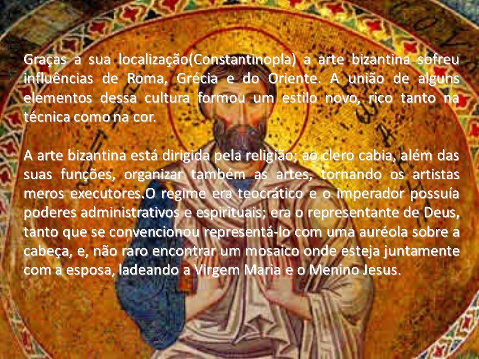 Graças a sua localização(Constantinopla) a arte bizantina sofreu influências de Roma, Grécia e do Oriente. A união de alguns elementos dessa cultura f