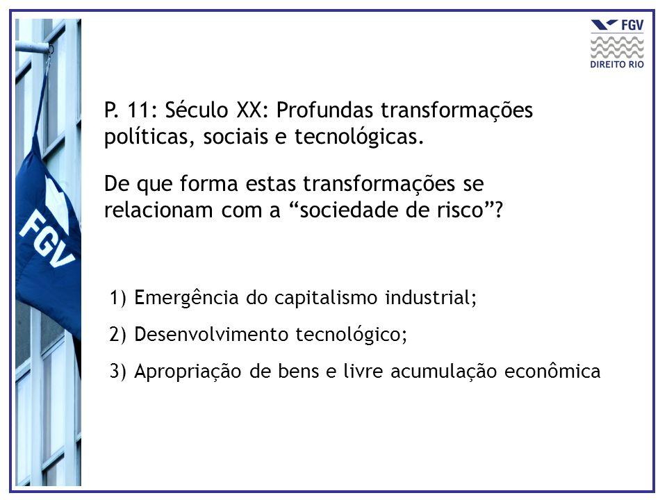 P. 11: Século XX: Profundas transformações políticas, sociais e tecnológicas. De que forma estas transformações se relacionam com a sociedade de risco