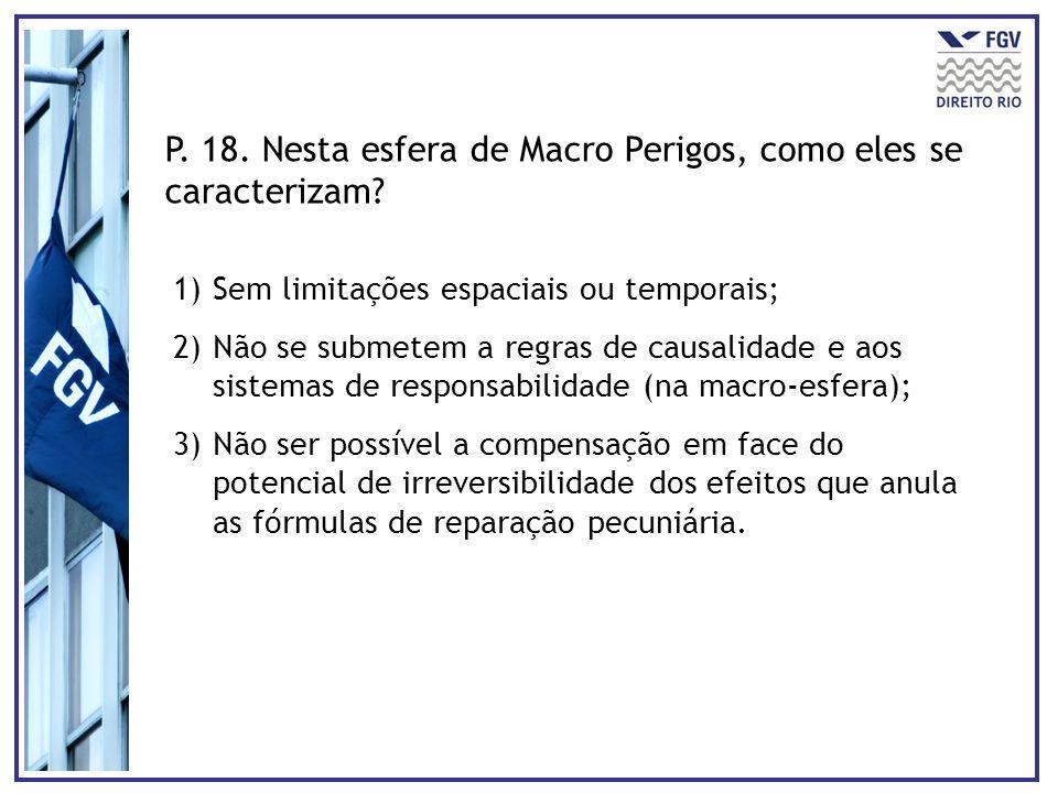 P. 18. Nesta esfera de Macro Perigos, como eles se caracterizam? 1)Sem limitações espaciais ou temporais; 2)Não se submetem a regras de causalidade e