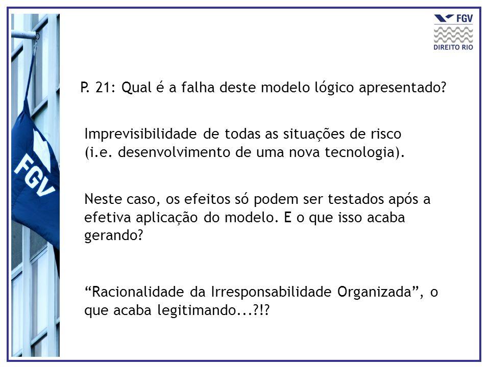 P. 21: Qual é a falha deste modelo lógico apresentado? Imprevisibilidade de todas as situações de risco (i.e. desenvolvimento de uma nova tecnologia).