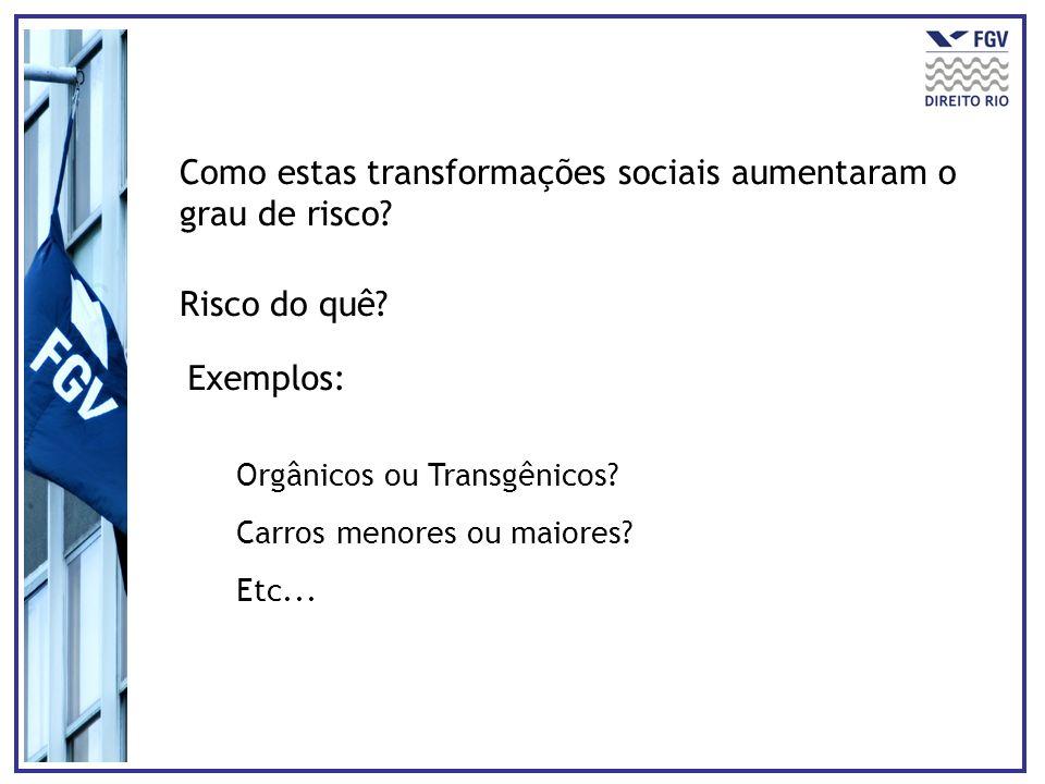 Como estas transformações sociais aumentaram o grau de risco? Risco do quê? Exemplos: Orgânicos ou Transgênicos? Carros menores ou maiores? Etc...