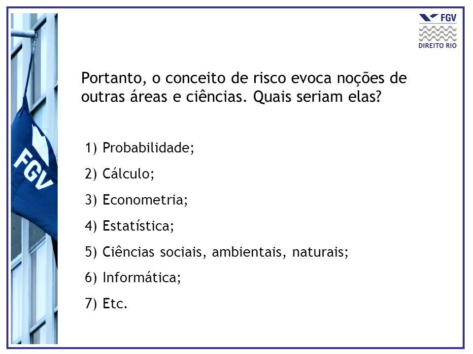 Portanto, o conceito de risco evoca noções de outras áreas e ciências. Quais seriam elas? 1)Probabilidade; 2)Cálculo; 3)Econometria; 4)Estatística; 5)