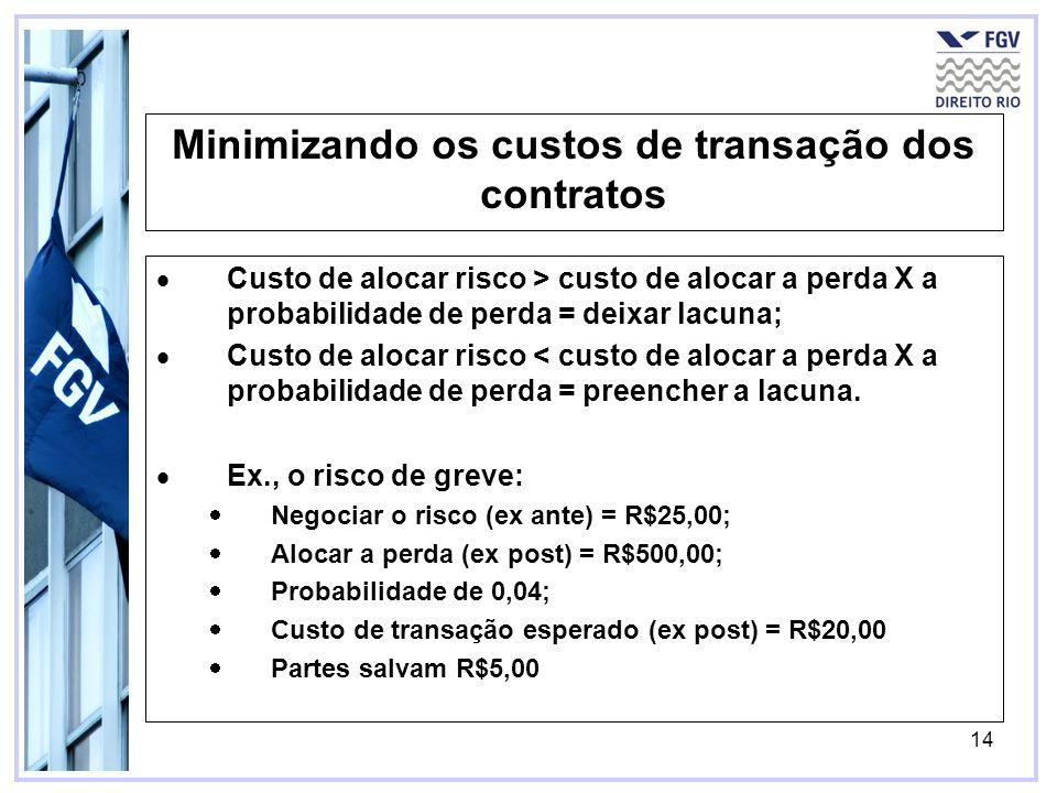 14 Minimizando os custos de transação dos contratos Custo de alocar risco > custo de alocar a perda X a probabilidade de perda = deixar lacuna; Custo