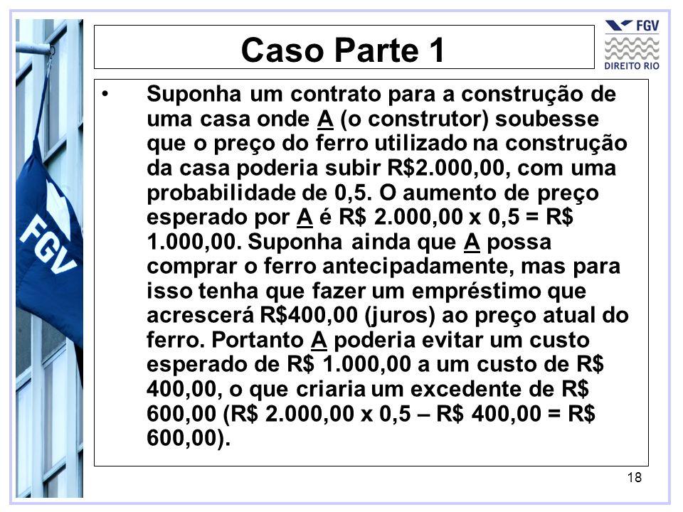 18 Caso Parte 1 Suponha um contrato para a construção de uma casa onde A (o construtor) soubesse que o preço do ferro utilizado na construção da casa