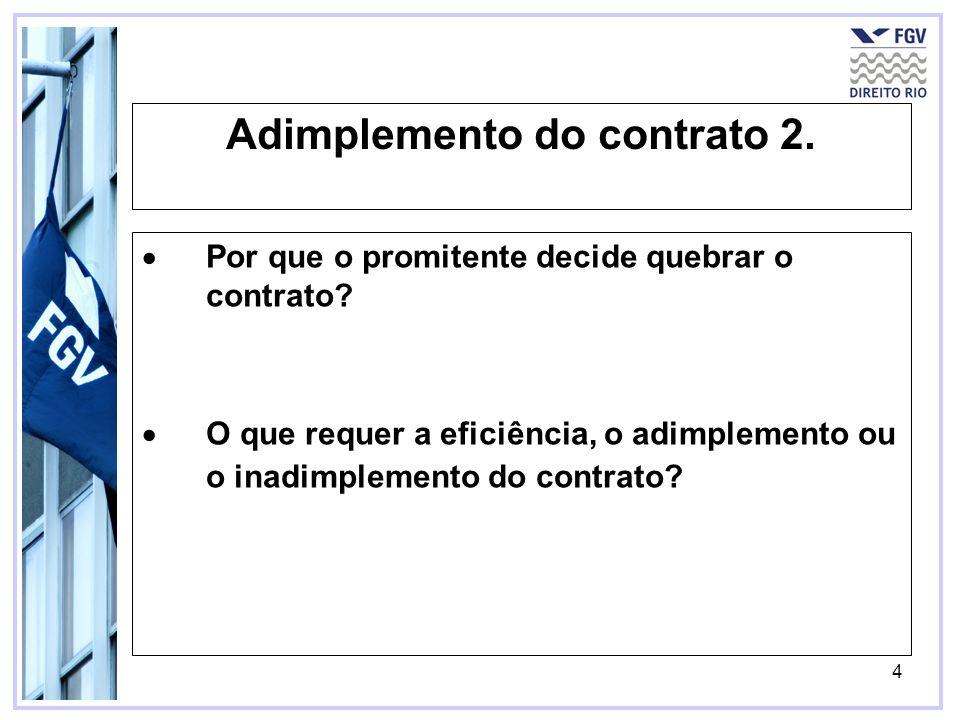 4 Adimplemento do contrato 2. Por que o promitente decide quebrar o contrato? O que requer a eficiência, o adimplemento ou o inadimplemento do contrat