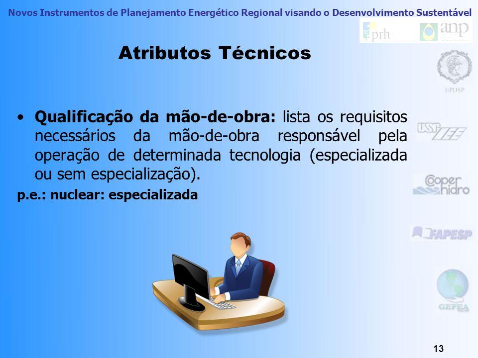 Novos Instrumentos de Planejamento Energético Regional visando o Desenvolvimento Sustentável Atributos Técnicos Disponibilidade de fornecimento: busca