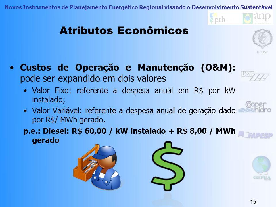 Novos Instrumentos de Planejamento Energético Regional visando o Desenvolvimento Sustentável Atributos Econômicos Custo de implantação: custo em R$ pa