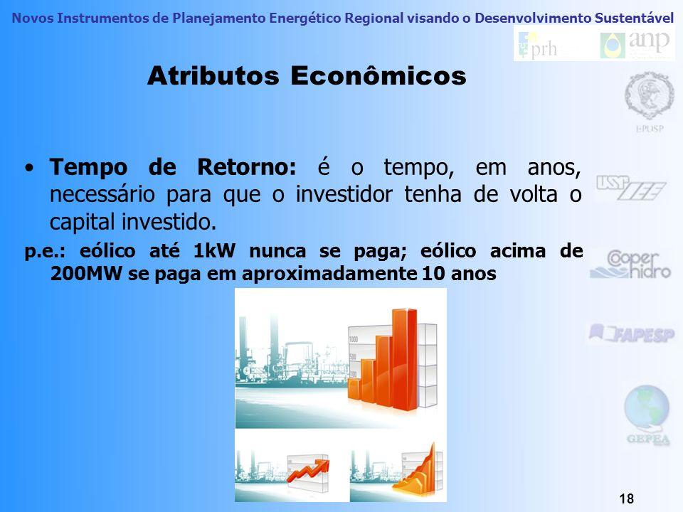 Novos Instrumentos de Planejamento Energético Regional visando o Desenvolvimento Sustentável Atributos Econômicos Valor Presente Líquido (VPL): é uma