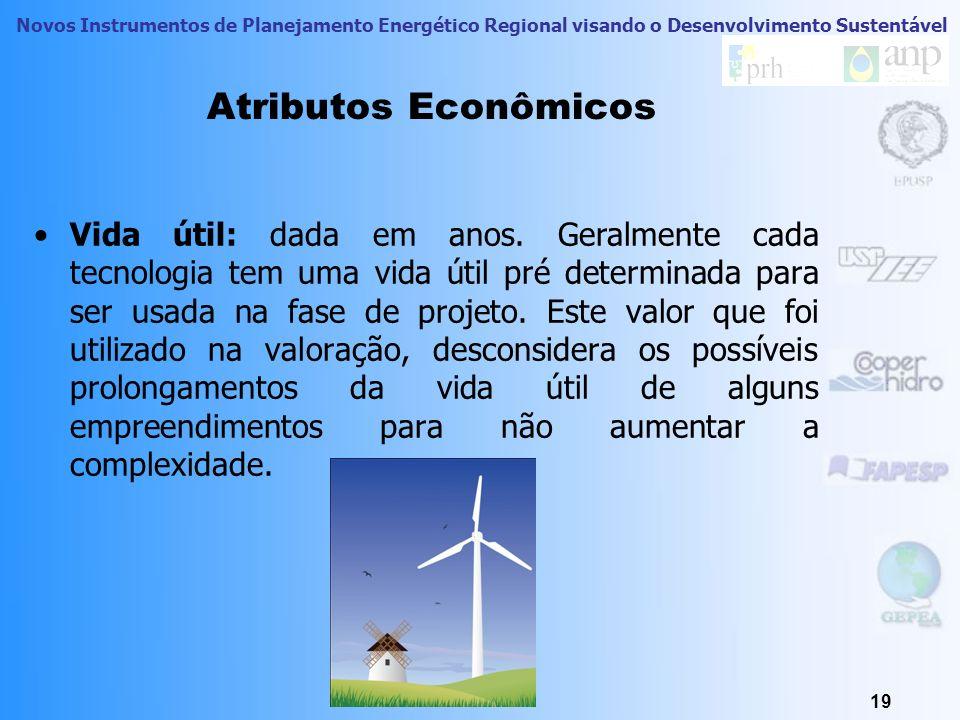 Novos Instrumentos de Planejamento Energético Regional visando o Desenvolvimento Sustentável Atributos Econômicos Tempo de Retorno: é o tempo, em anos