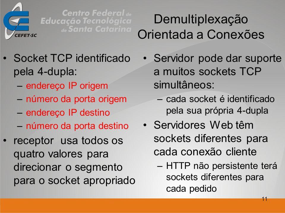 11 Demultiplexação Orientada a Conexões Socket TCP identificado pela 4-dupla: –endereço IP origem –número da porta origem –endereço IP destino –número