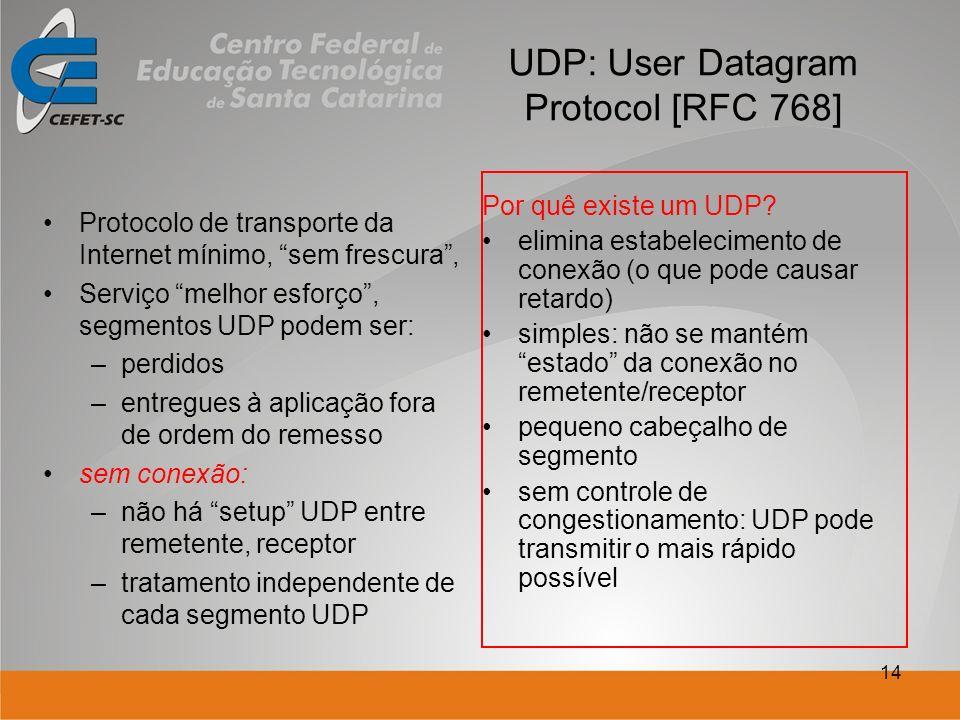 14 UDP: User Datagram Protocol [RFC 768] Protocolo de transporte da Internet mínimo, sem frescura, Serviço melhor esforço, segmentos UDP podem ser: –p