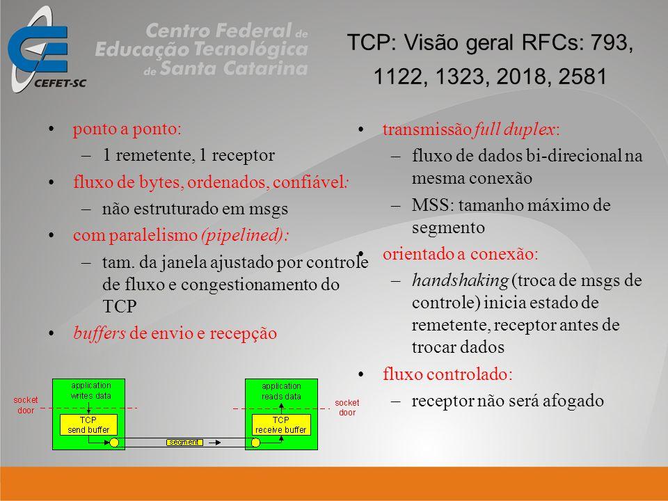 TCP: Visão geral RFCs: 793, 1122, 1323, 2018, 2581 transmissão full duplex: –fluxo de dados bi-direcional na mesma conexão –MSS: tamanho máximo de seg