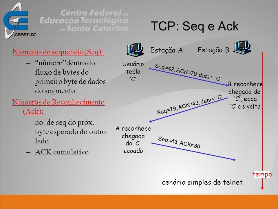 TCP: Seq e Ack Números de sequência (Seq): –númerodentro do fluxo de bytes do primeiro byte de dados do segmento Números de Reconhecimento (Ack): –no.