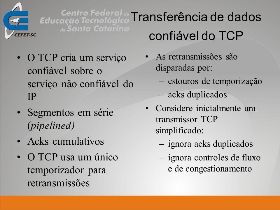 Transferência de dados confiável do TCP O TCP cria um serviço confiável sobre o serviço não confiável do IP Segmentos em série (pipelined) Acks cumula