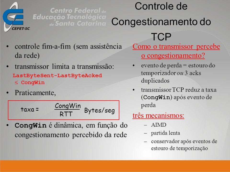 Controle de Congestionamento do TCP controle fim-a-fim (sem assistência da rede) transmissor limita a transmissão: LastByteSent-LastByteAcked CongWin